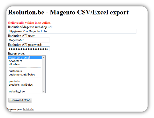 Rsolution Magento data exports